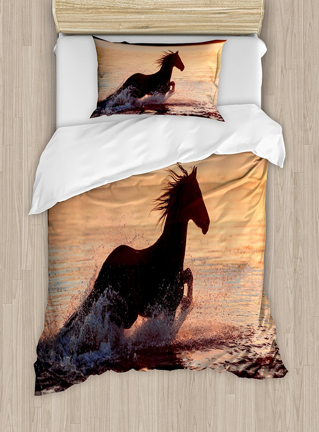Equestrian Duvet Cover Set Horse Sea at Sunset Time Horizon Speed Exotic Nature Animal Picture Art Decorative 4pcs Bedding Set