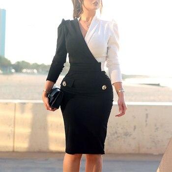 2020 feminino elegante escritório ol falso bolso workwear vestido festa contraste cor dois tons botão metálico blazers midi vestido