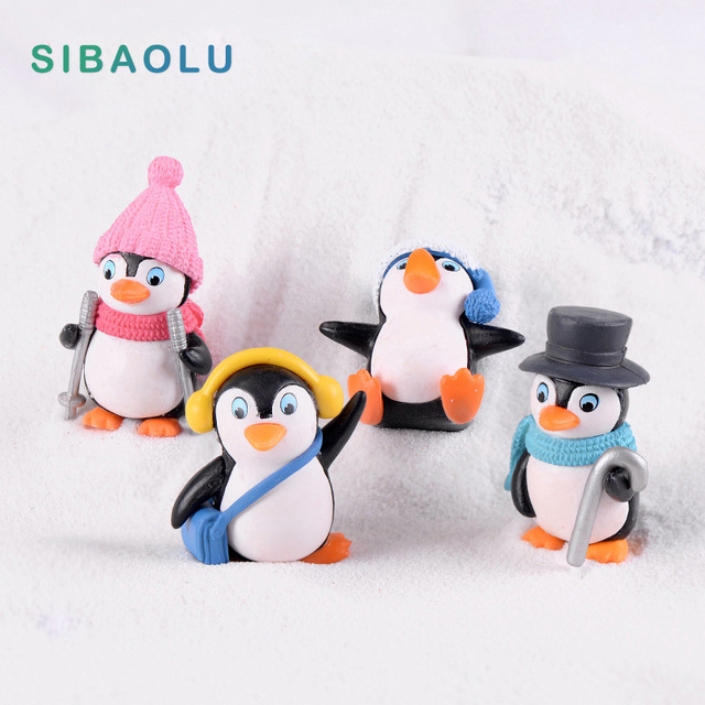 Winter Penguin Miniature figurine Mini Christmas Figures home decoration kawaii DIY Fairy Garden ornaments Resin craft kids toys