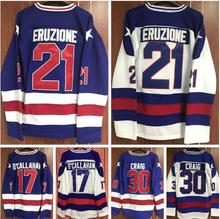 Hockey Jersey 1980 Miracle On Ice Team USA Mike Eruzione 21# Jack O'Callahan 17# Jim Craig 30# Ice Hockey Jersey White Blue(China)