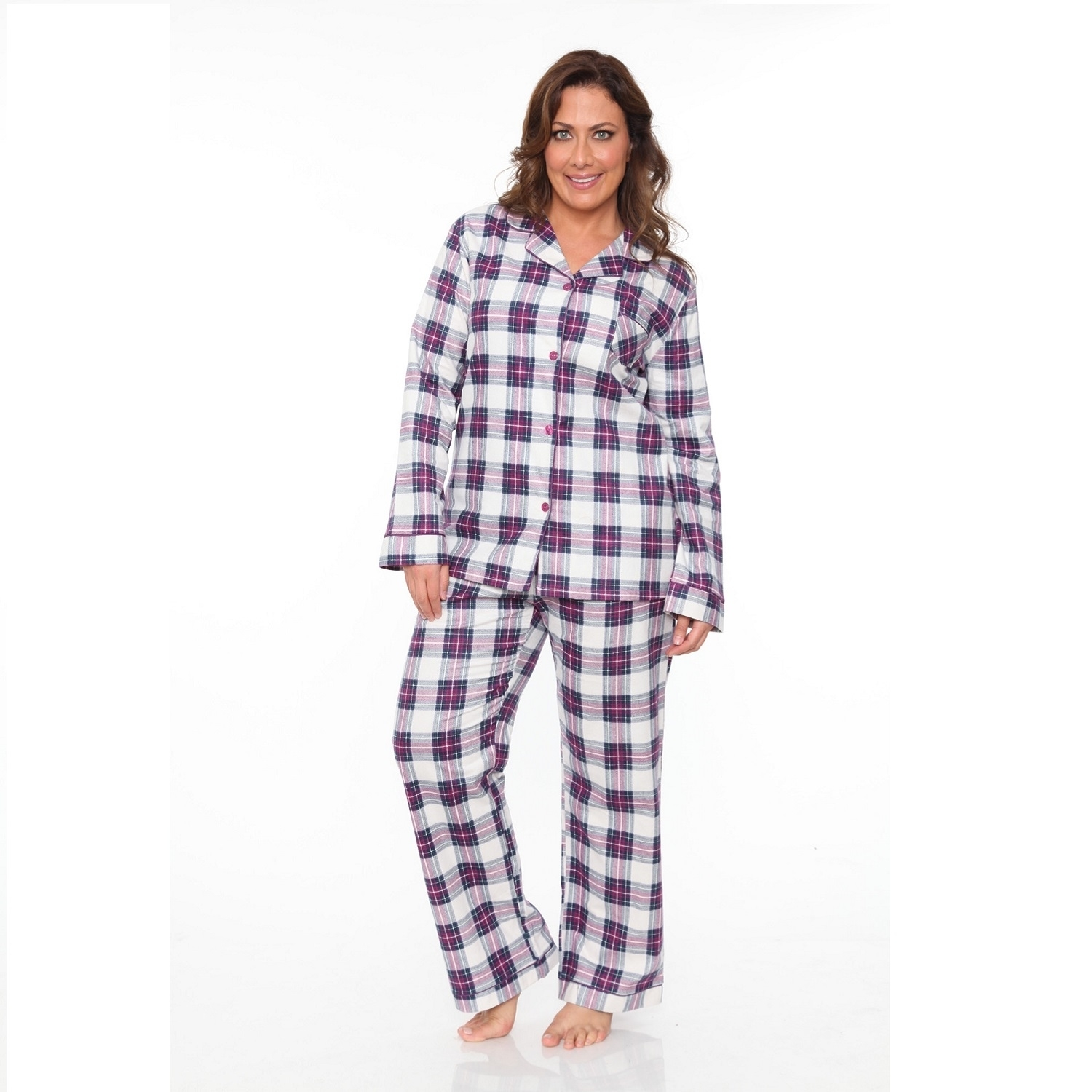 274cd555e3f6 Plus Size Flannel Pajama Set Purple   White Plaid-in Pajama Sets ...