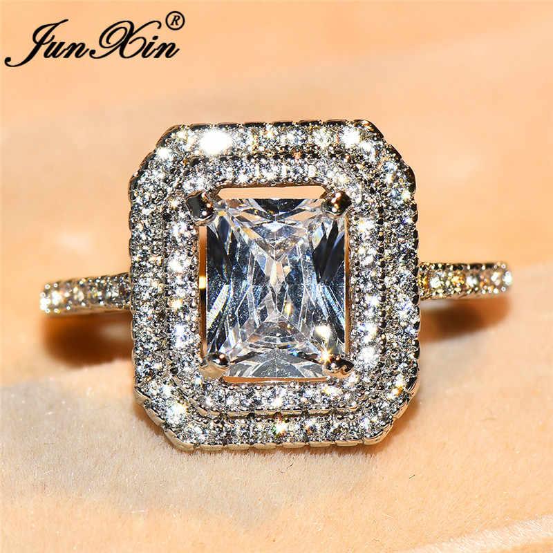 JUNXIN 80 OFF! เจ้าหญิงสแควร์หินขนาดใหญ่แหวน 925 เงิน/Rose Gold Filled White CZ แหวนคริสตัลหญิงงานแต่งงาน