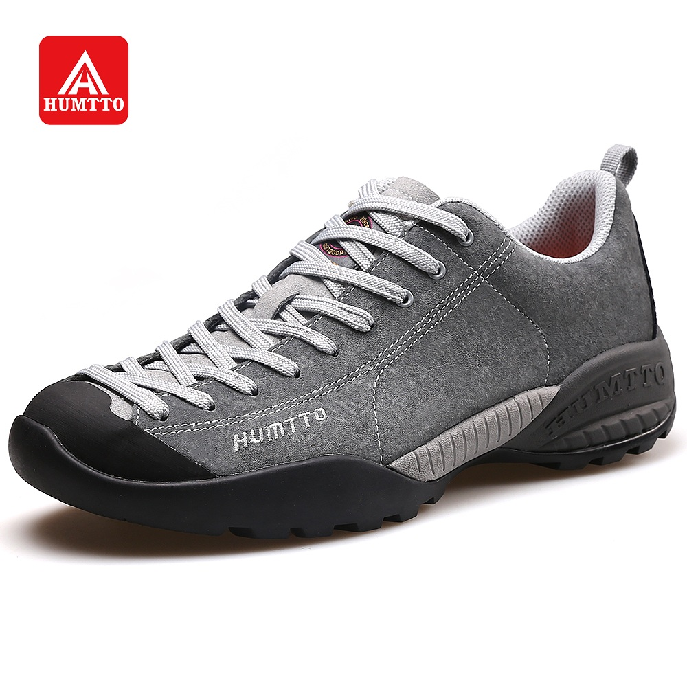 HUMTTO Walking Shoes Men Leather Sneakers Outdoor Sports Climbing Camping Non slip Wearable Trekking Shoes New
