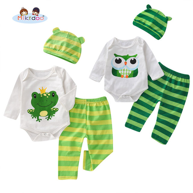 Toddler Newborn Baby Boys Cute Clothes Set Cartoon Animal Print Long Sleeve Romper Striped Pant Hat 3PCS Outfit