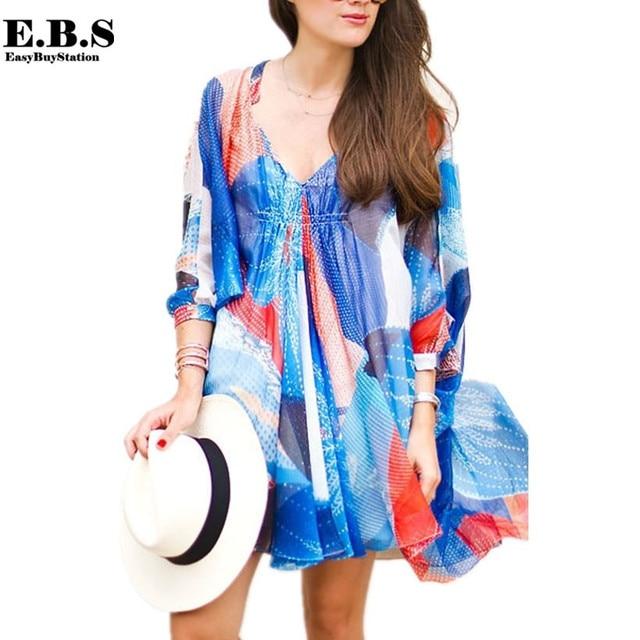 Europe Fashion Women Summer Sexy V neck Chiffon Print Long Casual Loose Long Blouse Beach Shirt Swimsuit cover Beach Tops