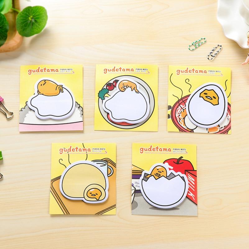 20Pcs/Pack Cartoon Cute Gudetama Lazy Egg Post It N Times Memo Pad Notebook Student Sticky School Label Gift E0090