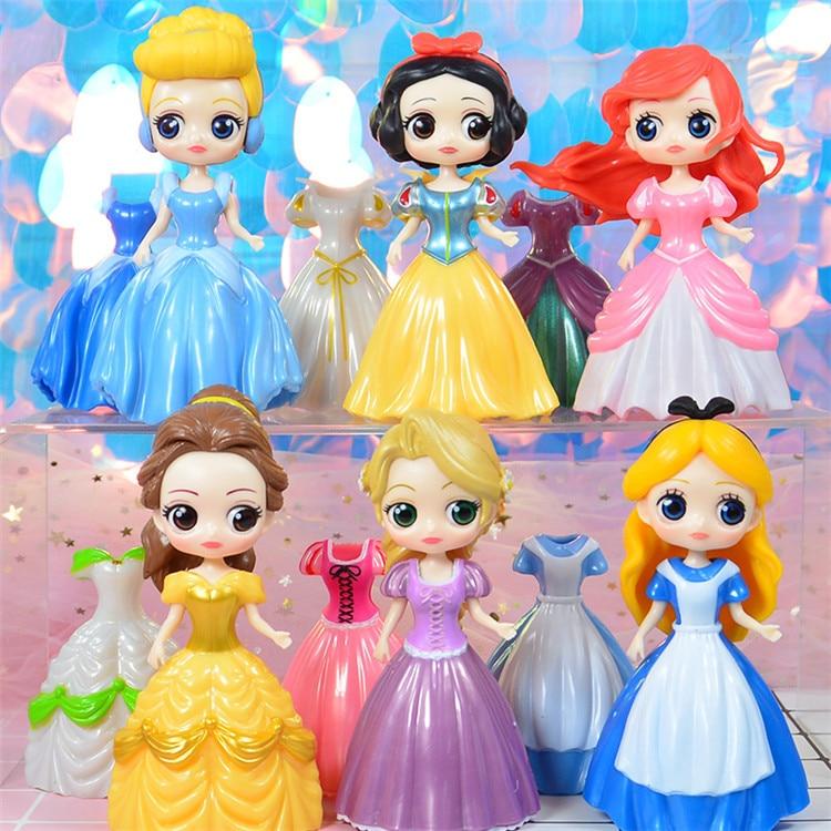 6pcs//Set Princess doll with Magic Clip Dress Kids Girls Favorite Toys Gift 10cm