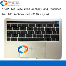 Original New 661-05334 SILVER SPACE GREY A1706 Top Case with Battery and Touchpad for 13″ Macbook Pro FR GR Layout 2016 2017