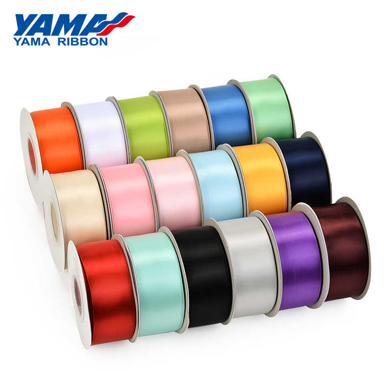 "Yama 25 Yards/Roll Single Face Satin Pita 6 9 13 16 25 38 Mm Pita 1/4 ""3 /8/""1/2"" 5/8 ""1"" 1.5 ""Inch untuk Kerajinan Buatan Tangan Hadiah"