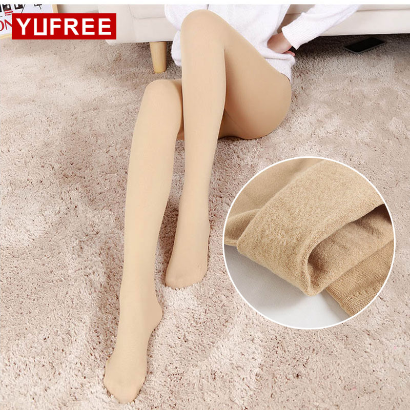 Yufree 2017 Women Tights Solid Color Plus Velvet Slim Tights Autumn Women Casual Pantyhose Female Sexy Pencil Tights