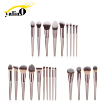 YALIAO Makeup Brushes 4/9/10pcs Make Up Set Nylon Eye Shadow Brushes Wooden Handle Mask Brush High Quality Makeup Brush Kit hot sale 1pcs bb high quality eye sweep brush design for apply eye shadow along the lower lid and creas makeup brushes page 1