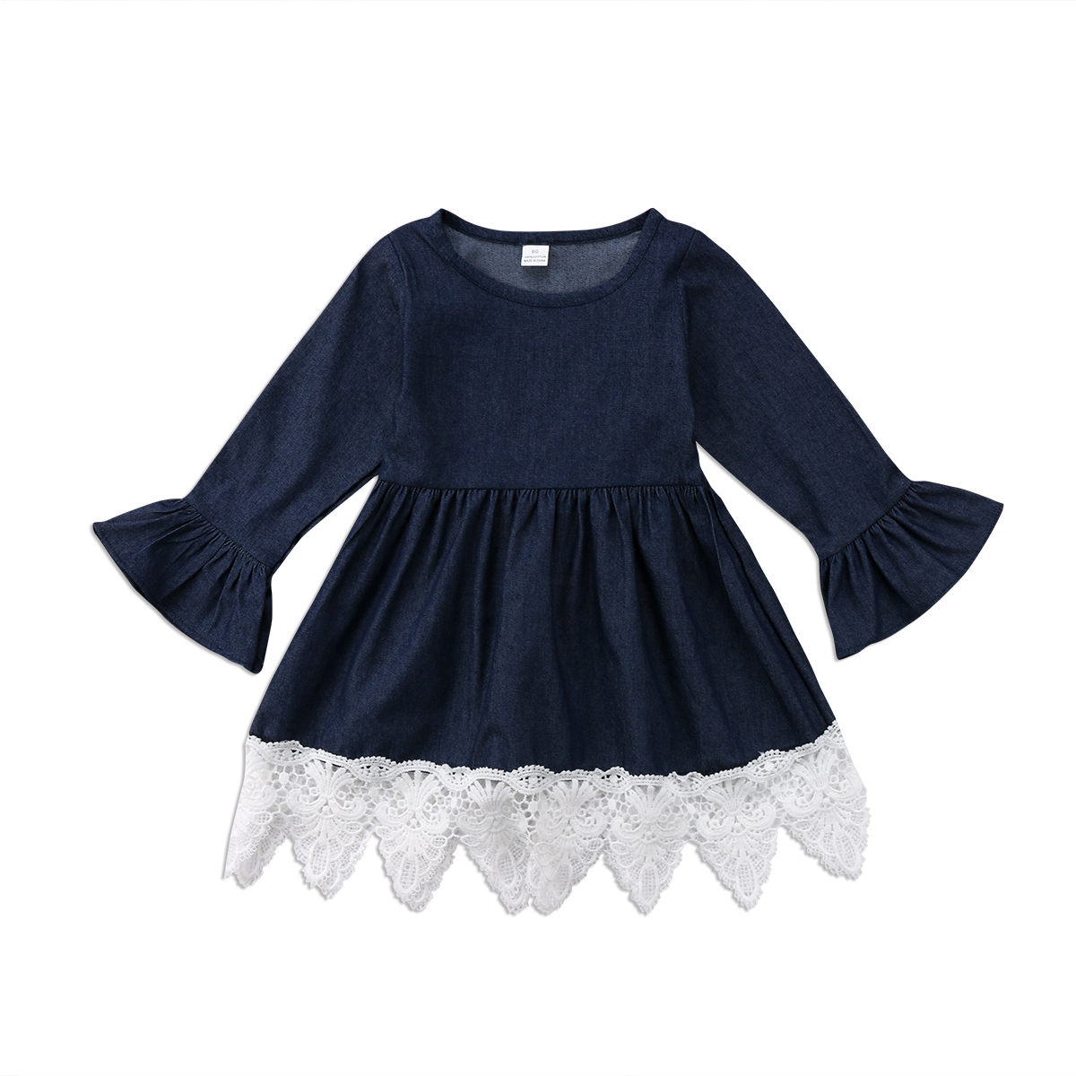 Infant Toddler Kids Girls Clothing Dress Denim Ruffles Long Sleeve Lace Princess Dresses Outfits Mini Girl 1-7T ems dhl free shipping toddler little girl s 2017 princess ruffles layers sleeveless lace dress summer style suspender