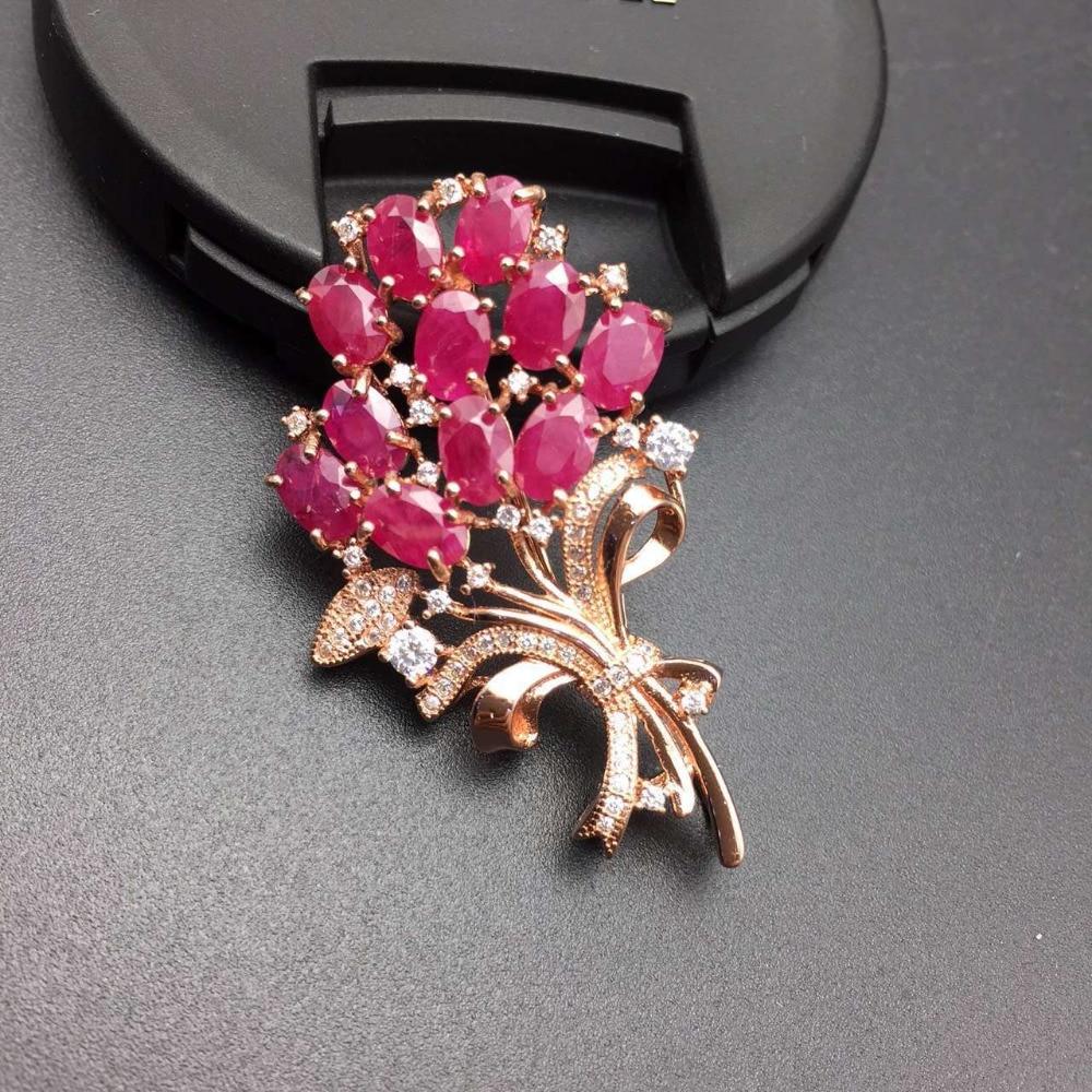 Натуральный красный рубин камень брошь S925 серебра, природных драгоценных камней брошь кулон Модные Элегантные цветы Женщины два носит парт