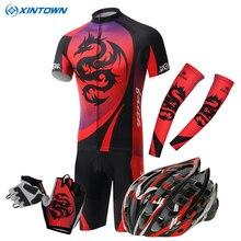 2016 Rojo Dragón Xintown Ciclismo Jersey/Transpirable Ropa Bike Casco guantes Manguito Ropa de Bicicletas Ciclismo ropa Ciclismo Desgaste