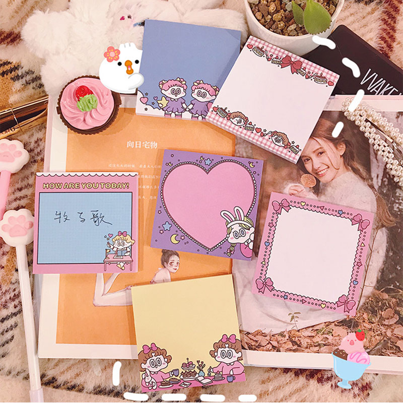 Cute Kawaii Ins Girl Sticky Note Memo Pad Office Planner Sticker Paper Korean Stationery School Notepad Supplies