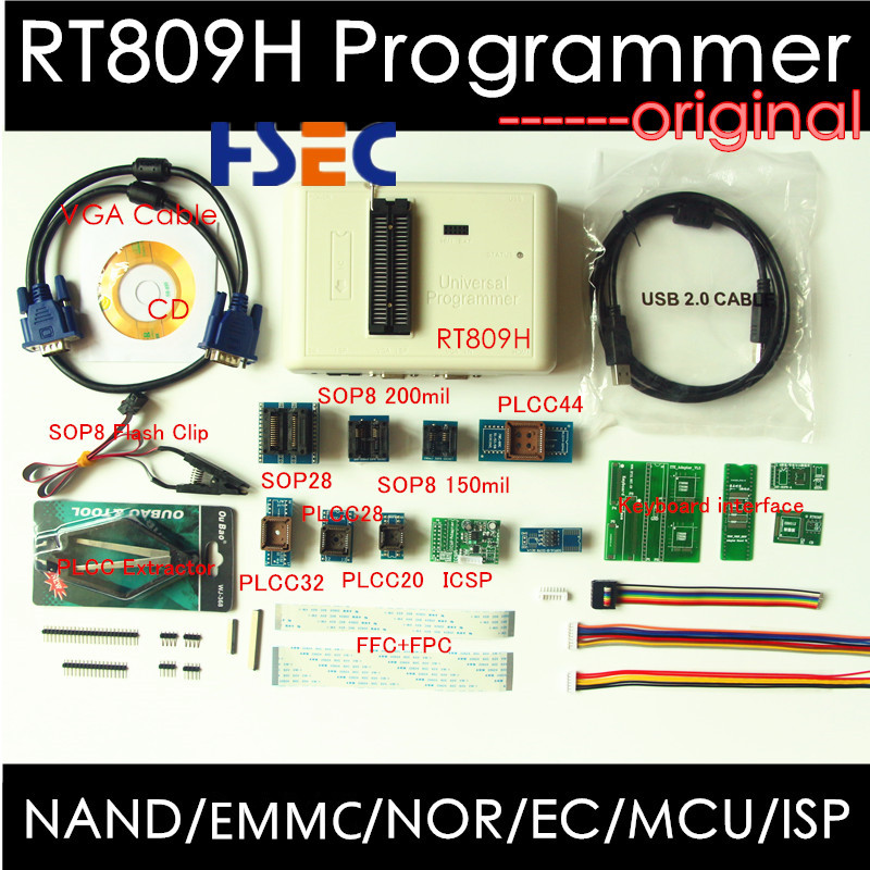 Free shipping Newest Universal RT809H EMMC Nand FLASH Programmer+20 Items SOP8 flash Adapter EMMC NAND NOR better than RT809F-in Integrated Circuits from Electronic Components & Supplies    1