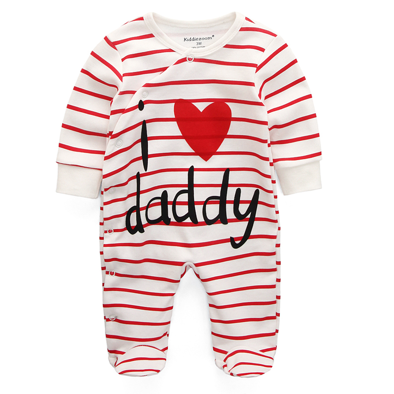 2019 Baby Girls Boys Clothes Cartoon Baby Pajama Cotton Long Sleeve Baby I Love Daddy Mommy Printed Romper Promote The Production Of Body Fluid And Saliva