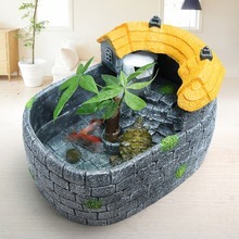 Creative Small Fish Tank Mini Landscaping Turtle Villa Ecological Mixed with Drying Platform