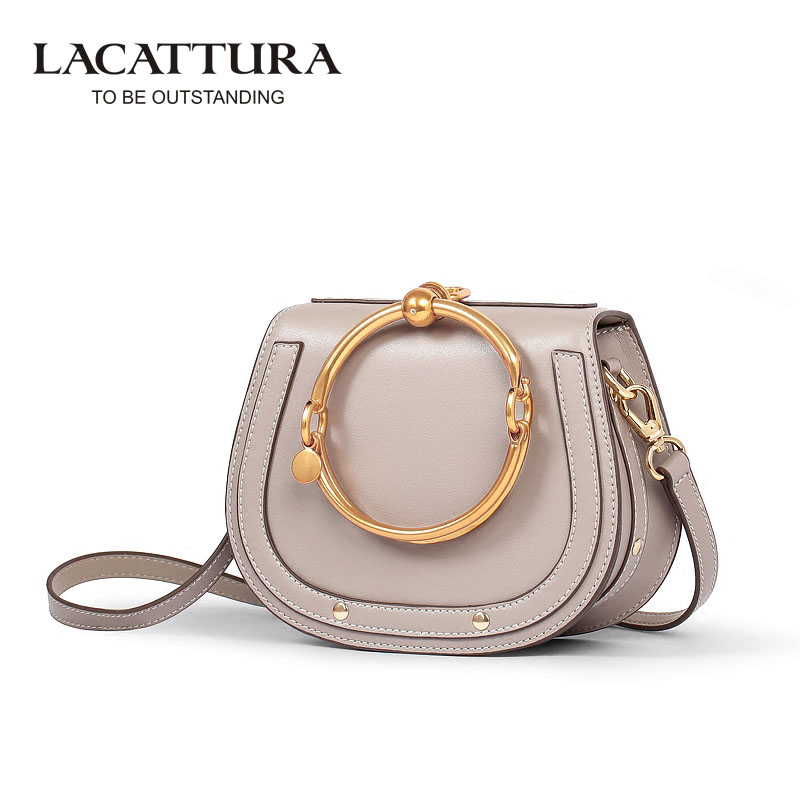 A1358 2017 Lacattura Tote Handbags Women Famous Brands Leather Shoulder Bag Girl Crossbody Bags Female Big Ring Messenger Bags