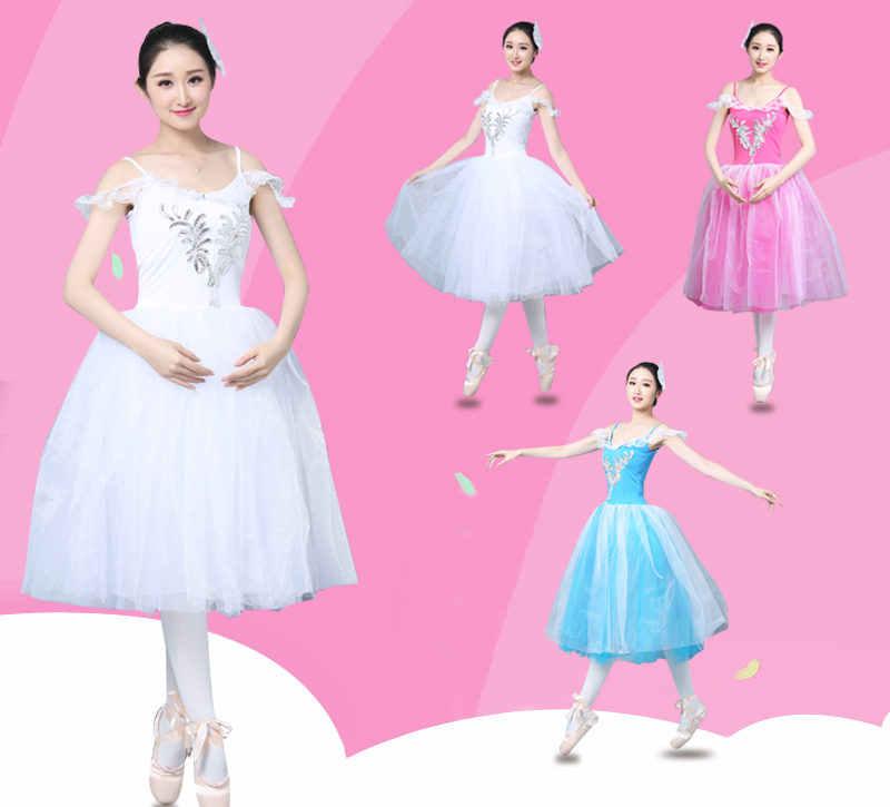 c66b104c0 Adult Romantic Ballet Tutu Rehearsal Practice Skirt Swan Costume for Women Long  Tulle Dress White pink