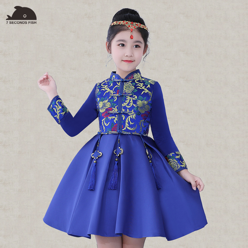 autumn Formal Kids Dress For Girls 2017 Princess Wedding Party Dresses Girl Clothes 6-13 Year Dress Bridesmaid Children Clothing цена и фото