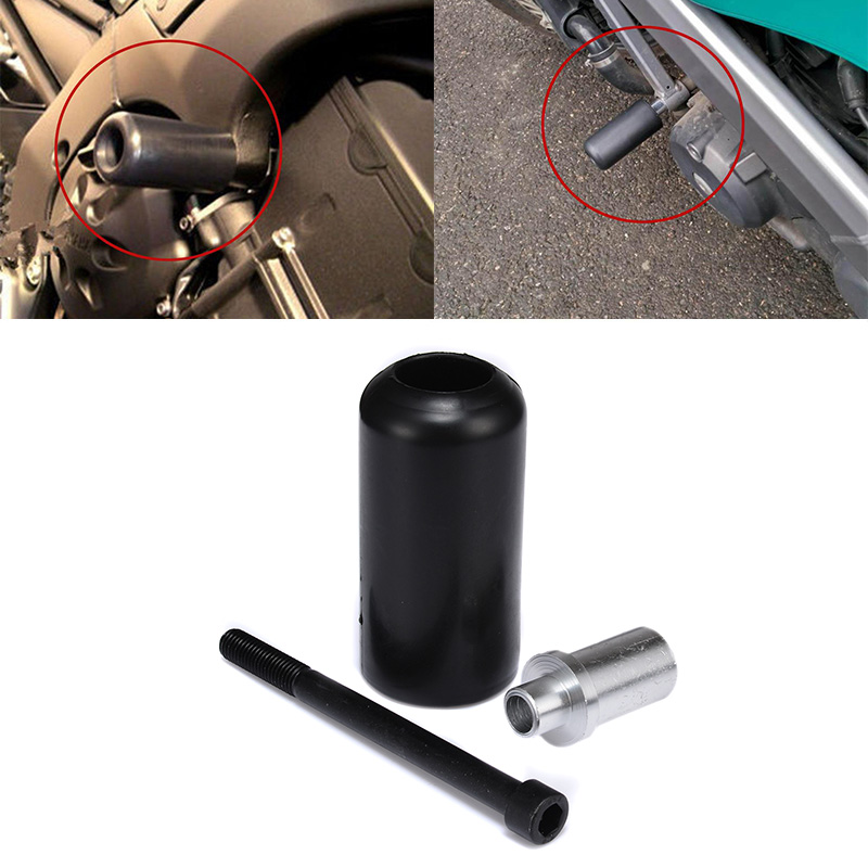 1pc High Quality Plastic Motorcycle Frame Slider No Cut Crash Protector Universal Black For Yamaha Suzuki Motorcycle Parts