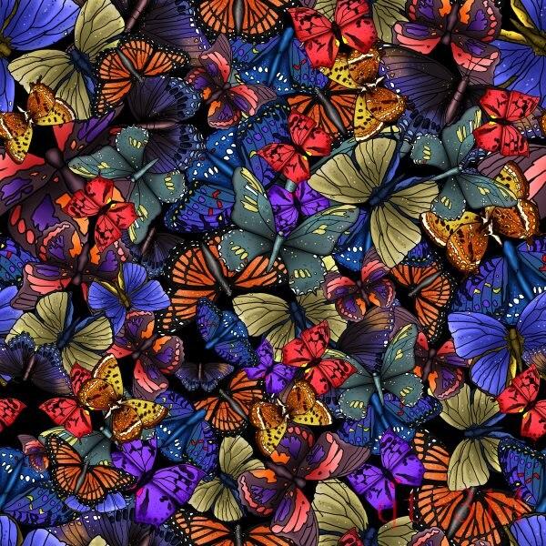 10x10ft Vintage Dark Colorful Butterfly Pattern Custom Photo Studio