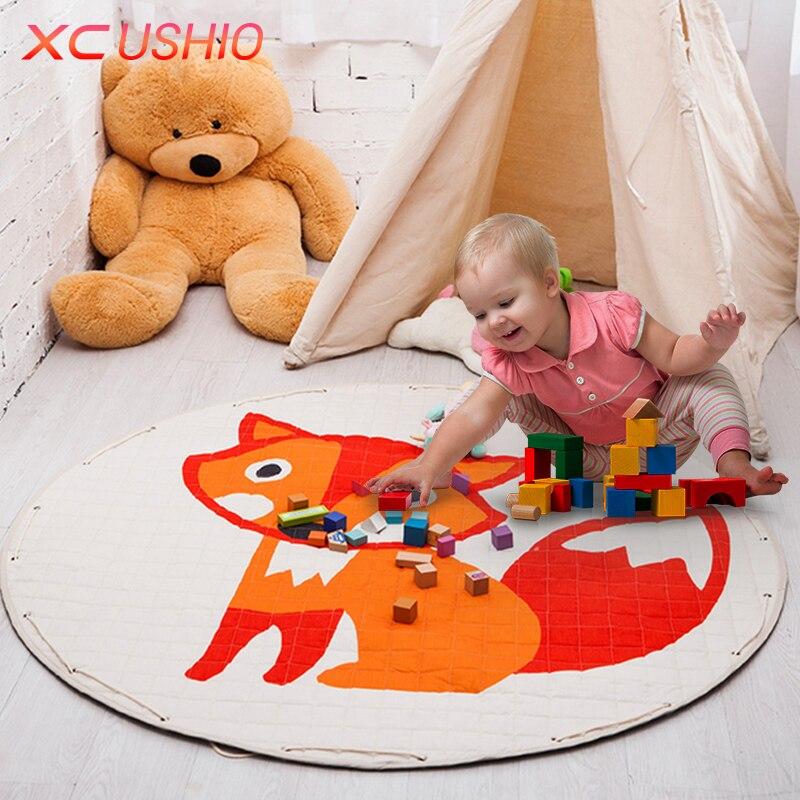 Portable Kids Toys Storage Bag Play Mat Toys Organizer Fashion Practical Storage Bags Foldable Drawstring Baby Crawling Mat