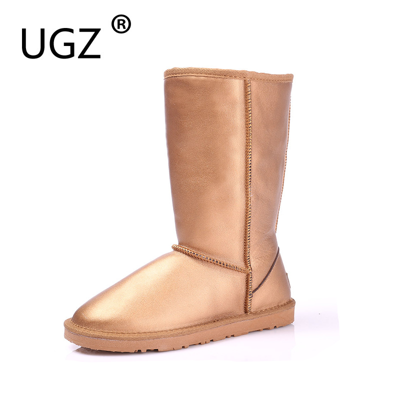 UGZ Quality Women Winter Boots Genuine Leather Black Snow Boots High Waterproof Tall Warm Shoes Botas Feminina Inverno ugz quality women winter boots genuine leather black snow boots high waterproof tall warm shoes botas feminina inverno
