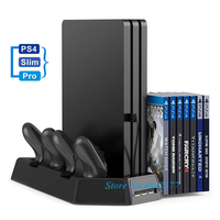 PS4/Slim/Pro Vertical Stand Play Station 4 Cooling Fan Cooler Dual Gamepad Charger Charging Dock Station for Playstation 4 Games