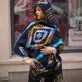 100 pçs/lote Senhoras Inverno Quente Com Capuz Envoltório Poncho Exuberante Cape, Manto Ponchos E Capas Asteca Outwear Femininos Tippet