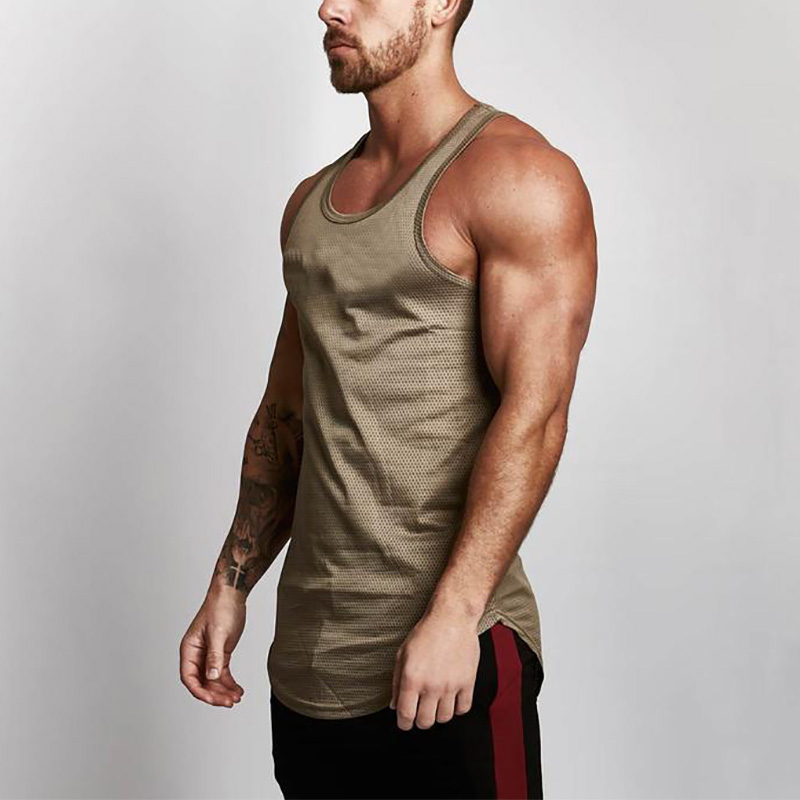 Brand Mens Mesh   Tank     Tops   Fitness Clothing 2018 Summer Muscle Vest Gyms Stringer Tanktop Canottiere Bodybuiding Sleeveless Shirt