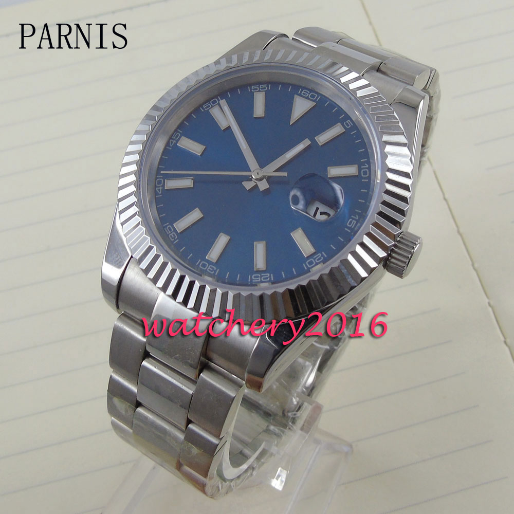 Fashion 40mm Pranis blue dial date adjust sapphire glass Automaic self-wind movement Men's business Watch fashion 40mm pranis silver dial full stainless steel sapphire glass automaic self wind mechanical men s business watch
