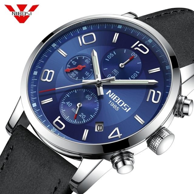 5e1fbad894b NIBOSI Mens Relógios Top Marca de Luxo Relógio de Quartzo Homens Calendário  de Couro Relogio masculino