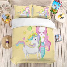 Mermaid Cartoon bedding set Duvet Covers Pillowcases comforter sets bedclothes bed linen Children room decor