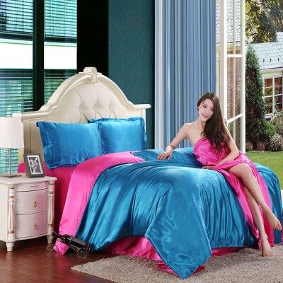 Rose y el lago azul juego de cama de seda textil para el hogar ropa de cama set
