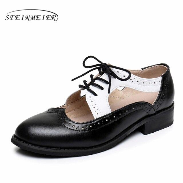 c23578f0f47 Genuine leather big woman US size 11 designer vintage flat shoes Sandals  handmade black white 2019 oxford shoes for women