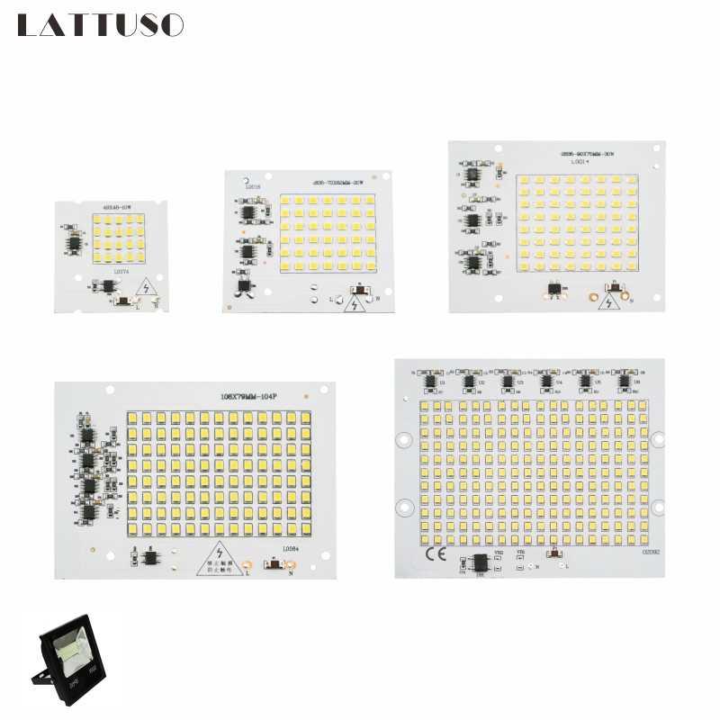 LATTUSO Led lampa 10W 20W 30W 50W 100W inteligentny IC Floodlight COB Chip SMD 2835 5730 długa na świeże powietrze czas serwisowy diy oświetlenie W 220V