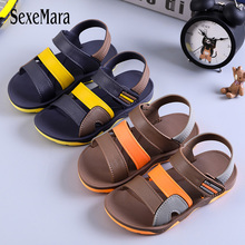 Big Boys Sandals Leather Summer Casual Beach Shoes for Children Non-slip Soft Bottom 2019 Mix Color C03092