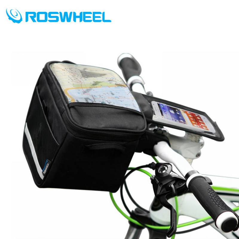 ROSWHEEL Outdoor Sports Front Bicycle Bags Bike Cycling Navigation Frame Tube Handlebar Bag Touch Case For Less 5.5-inch Phone roswheel attack series waterproof bicycle bike bag accessories saddle bag cycling front frame bag 121370 top quality