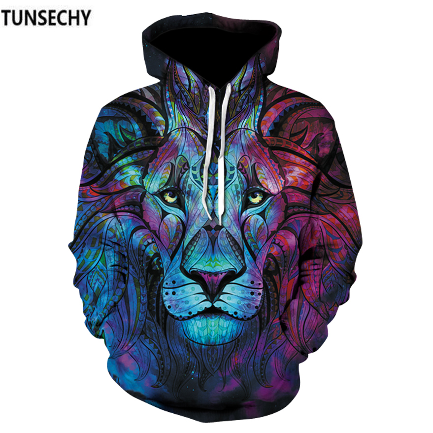 TUNSECHY Brand New Fashion Men/Women 3D Sweatshirts Print Paisley Flowers Lion Hoodies Autumn Winter Hooded Pullovers Tops