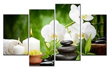 4 Panels Framed Stone flowers Print poster canvas Wall Art orchids Decoration art oil painting Modular