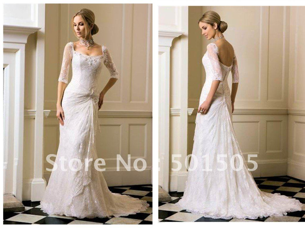 Wholesale Wedding Gowns In Usa: Wholesale Lace Sleeved Fitted Wedding Dress Three Quarter