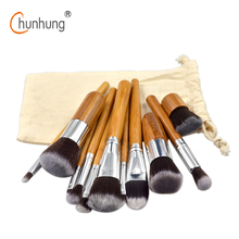 New 11 Pcs/set Makeup Brushes Set Bamboo Wood Fiber Brush Professional Makeup Brushes Set Eyebrow Eyeliner Powder Brushes Tools