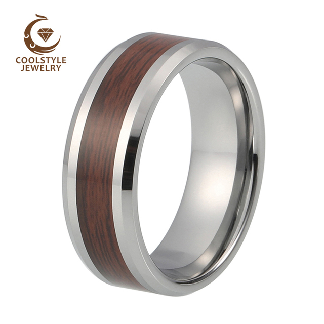 tungsten carbide 8mm wedding band ring for him or her beveled edges with burgundy wood laminate - Wedding Ring For Him
