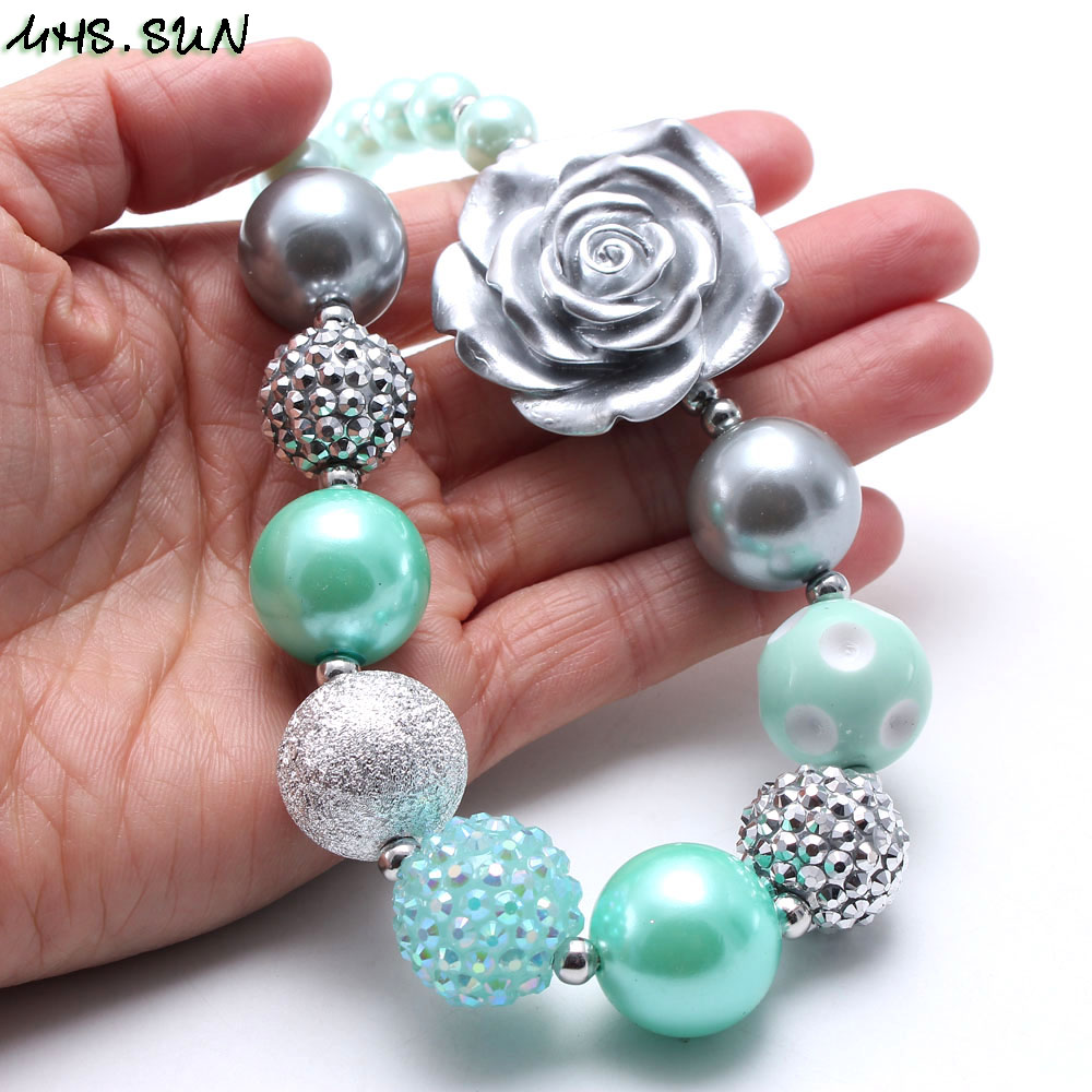 MHS.SUN 2019 spring new style baby chunky bubblegum necklace mint green+silver color beads necklace for girls kids toy 1pc/lot