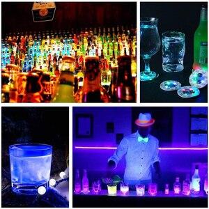 Image 5 - 1 pièces LED très brillante Flash bouteille lumière Glorifier bouteille de vin LED autocollant tasse tapis caboteur pour la décoration de barre de mariage de fête