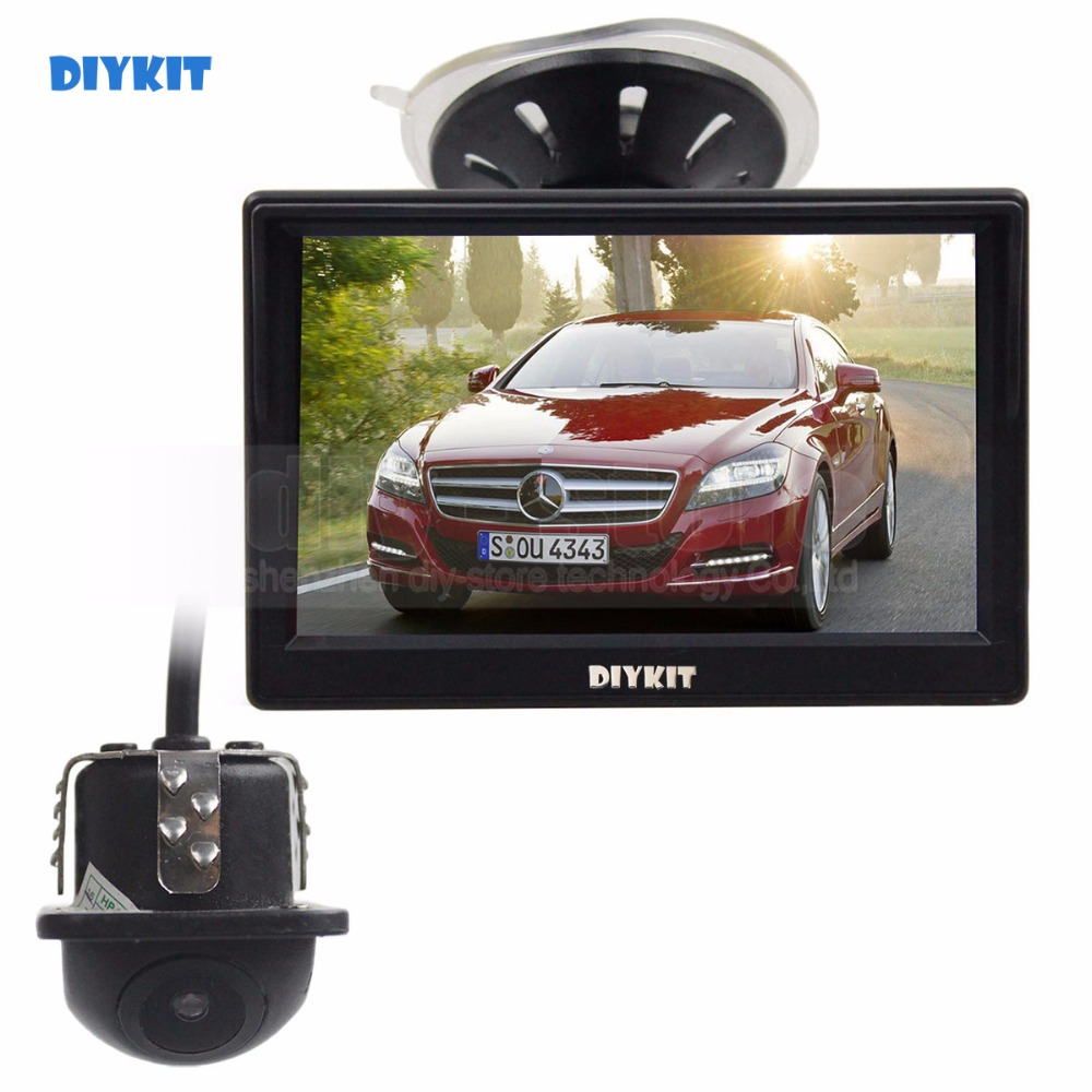 DIYKIT Wired 5 Inch HD LCD Display Rear View Monitor Car Monitor Mini Car Cam Rear View Car Camera Reversing System
