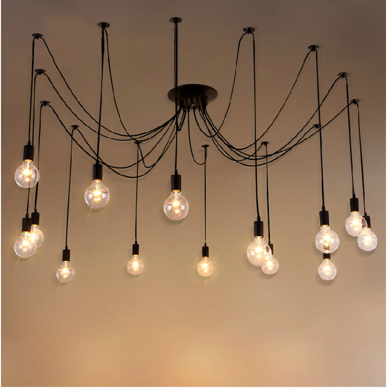 Lights & Lighting Beautiful Mordern Nordic Retro Bulb Light Chandelier Adjustable Diy E27 Art Aluminium Pendant Living Room Restaurant Cafe Bar Lamp Punctual Timing