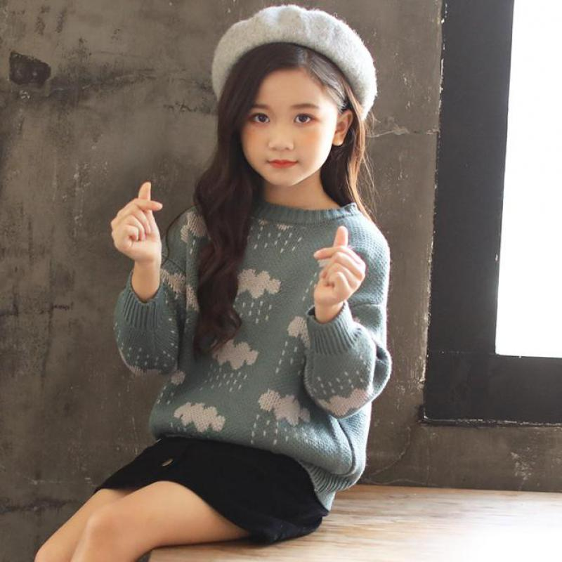 2018 New Autumn Baby Girls Sweaters Cotton Soft O Neck Pullover Kids Sweater Children Clothing Toddler Girls Sweater 10 12 Years turtle neck sweater baby blumarine turtle neck sweater